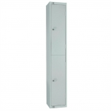 Elite Double Door Camlock Locker with Sloping Top Grey