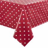 PVC Polka Dot Tablecloth Red 54in