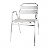Bolero Aluminium Stacking Chairs Arched Arms (Pack of 4)