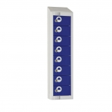 Elite Personal Effects Locker 8 Door Blue Padlock Sloping Top
