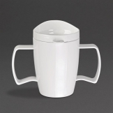 Kristallon Heritage Double-Handled Mugs with Lids White 300ml (Pack of 4)