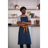 Southside Bistro Apron Denim Blue Tan Ties