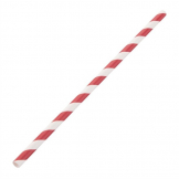 Fiesta Green Compostable Paper Straws Red Stripes (Pack of 250)
