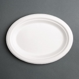 Fiesta Green Compostable Bagasse Oval Plates 198mm (Pack of 50)