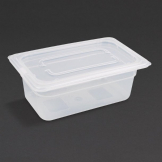 Vogue Polypropylene 1/4 Gastronorm Container with Lid 100mm (Pack of 4)