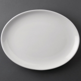 Bulk Buy Pack of 24 Athena Hotelware Oval Coupe Plates 305 x 241mm (CC212)
