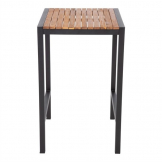 Bolero Square Steel and Acacia Bar Table 600mm