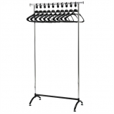 Bolero Chrome Coat Rack with 10 Polypropylene Hangers