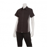 Chef Works Womens Universal Contrast Shirt Black Grey XS