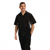 Chef Works Unisex Contrast Shirt Black and Grey S