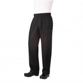 Chef Works Unisex Basic Baggy Zip Fly Chefs Trousers Black L