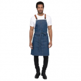 Chef Works Urban Berkeley Denim Brace Bib Apron Medium Blue