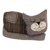 Sleeping Cat Fabric Doorstop, Brown