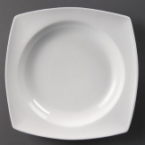 Olympia Whiteware Rounded Square Bowls Circular Well 250mm (Pack of 4)