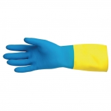 MAPA Alto 405 Liquid-Proof Heavy-Duty Janitorial Gloves Blue and Yellow Large