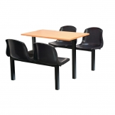 Bolero Four Seater Side Access Canteen Unit Beech and Black