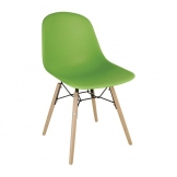 Bolero PP Moulded Side Chair Green with Spindle Legs (Pack 2)