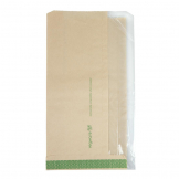 Vegware Compostable Kraft Greaseproof Food Bags With PLA Window 280 x 150mm (Pack of 1000)