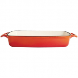 Vogue Orange Rectangular Cast Iron Dish 2.8Ltr