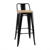 Bolero Bistro Backrest High Stools with Wooden Seat Pad Black (Pack of 4)