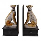 Set of 2 Ceramic Crackle Glaze Leopard Bookends