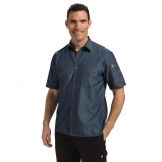 Chef Works Detroit Denim Short Sleeve Shirt Blue XS