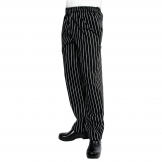 Chef Works Unisex Easyfit Chefs Trousers Black and White Striped 4XL