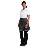 Chef Works Soho Wide Half Bistro Apron with Colour Block Charcoal Grey
