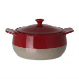 Olympia Red And Taupe Round Casserole Dish 1.8Ltr
