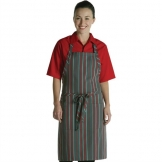 Chef Works Bib Apron Red and Grey Stripe