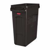 Rubbermaid Slim Jim Container With Venting Channels Brown 60Ltr