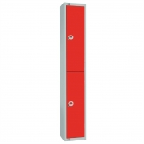 Elite Double Door Coin Return Locker with Sloping Top Graphite Red