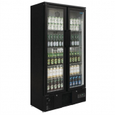 Polar Upright Back Bar Cooler with Hinged Doors in Black 490Ltr