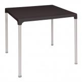 Bolero Black Square Table with Aluminium Legs 750mm