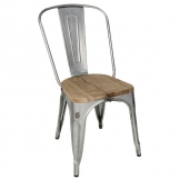 Bolero Bistro Side Chairs with Wooden Seat Pad Galvanised Steel (Pack of 4)