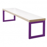 Bolero Dining Bench White with Violet Frame 3ft