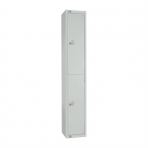 Elite Double Door Coin Return Locker with Sloping Top Grey