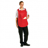 Whites Tabard With Pocket Red