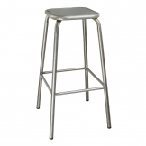 Bolero Galvanised Steel High Stool with Metal Seatpad (Pack of 4)
