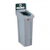 Rubbermaid Slim Jim Mixed Recycling Station Green 87Ltr