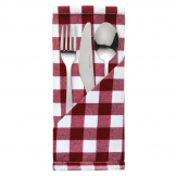 Mitre Comfort Gingham Polyester Napkins Red Check (Pack of 10)