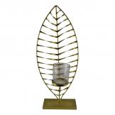 Large Gold Leaf Candle Holder with Glass Jar