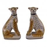 Set of 2 Left & Right Facing Ceramic Crackle Glaze Leopard Ornaments
