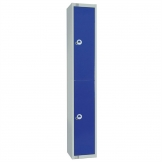 Elite Double Door Coin Return Locker with Sloping Top Graphite Blue