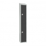 Elite Double Door Coin Return Locker with Sloping Top Graphite Grey