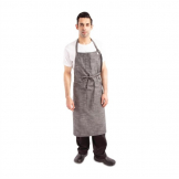 Chef Works Urban Corvallis Crosshatch Wide Bib Apron Black and Steel Grey