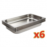 Vogue Stainless Steel 1/1 Gastronorm Pans 65mm Set of 6