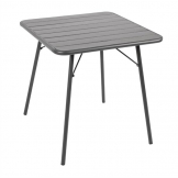Bolero Square Slatted Steel Table Grey 700mm (Single)