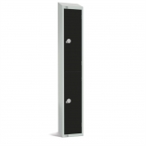 Elite Double Door Coin Return Locker with Sloping Top Graphite Black