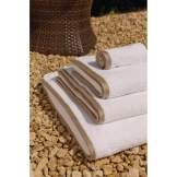 Heritage Ambassador Bath Sheet White with Taupe Border (650g)